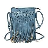 Kandharis Damen Umhängetasche Schultertasche Minibag Ethno CrossOver Tasche mit Fransen geometrischen CutOut Muster GB-13 Blau