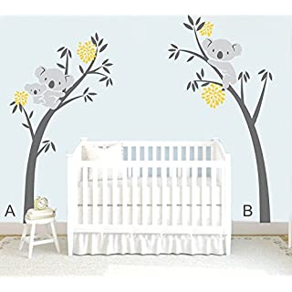 MAFENT Two koalas(Mother and kids) on a tree and Another on the other Large tree wall decal family wall stickers for Nursery kids Baby room Decoration 100