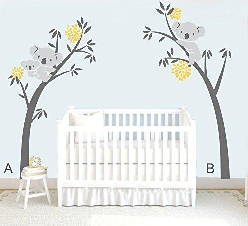 mafent Zwei Koalas (Mutter und Kinder) auf einem Baum und anderen auf der anderen großen Baum Wand Aufkleber Family Wandtattoo Aufkleber für Kinderzimmer Kinder Baby Zimmer Dekoration 254x 208,3cm (250x 205cm) Black Tree Grey Koala and Yellow Flower (Familie Baum-wand-aufkleber)