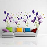 Possbay Wall Sticker Purple Lily Flower Lilium Removable Decor Bathroom Home Kid Living Room Bedroom Decal Art Paper