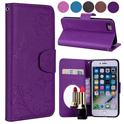 Coque iPhone 7, Klassikaline® Anlike Flip Housse Étui Cover Case Etui portefeuille Supporter avec Carte de Crédit Fentes Pour iPhone 7 (4,7 Zoll) Papillon et fleur - Violet