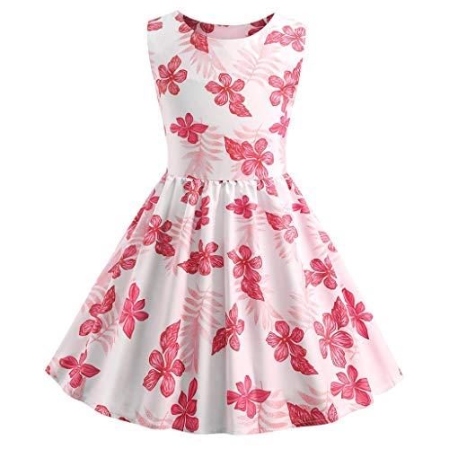 Tyoby Baby Mädchen Kleid Ärmelloses Prinzessinnenkleid Blumendruck Rundhalsausschnitt Tutu(RosaA,130)