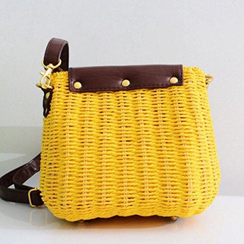 QPALZM Fringed-Strand-Tasche Stroh Rattan Retro Beiläufige Art Und Weise Schultertasche Rucksack Yellow