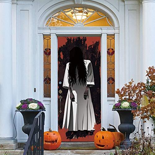 ZHANGDONGLAI Türaufkleber Lange Haare Frauen Geist 3D Tür Aufkleber wasserdichte Wirkung Sonnencreme Halloween Aufkleber Wandkunst Aufkleber 77 * 200Cm
