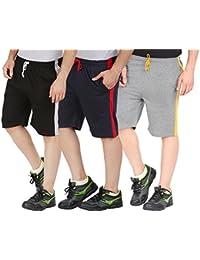 Checkersbay Men's Cotton Shorts( 3SAA-BLNACH Black ,Navy,Charcoal) Pack of 3