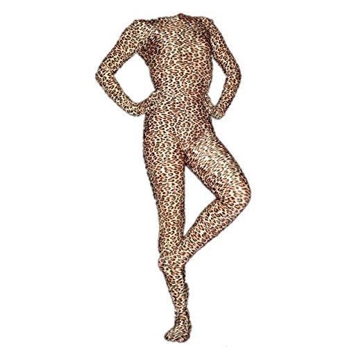 Rubberfashion Leoparden Catsuit, Animal Leo Prnit Overall mit Langen angearbeiteten Handschuhen und Schrittreißverschluss für Frauen und Herren Leopard M