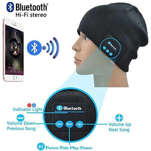 ONX3 XOLO Play 8X-1100 (Noir) Pack de Unisexe Une Taille Hiver Bluetooth Chapeau Avec Intégré Wireless Haut-Parleur Stéréo et Touchscreen Gants Noir