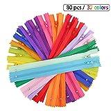 Vegkey 80 Stück Reißverschlüsse, 32 Farben Nylon Reißverschlüsse, 20cm Lang, 2.7cm Ersatz Reißverschlusses für Kleidung Tasche Kissenbezug Nylonhose Reißverschluss