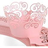 24pzas Envolturas de Papel Capsulas para cupcakes Magdalena Muffin Taza Wrapper Color Rosado