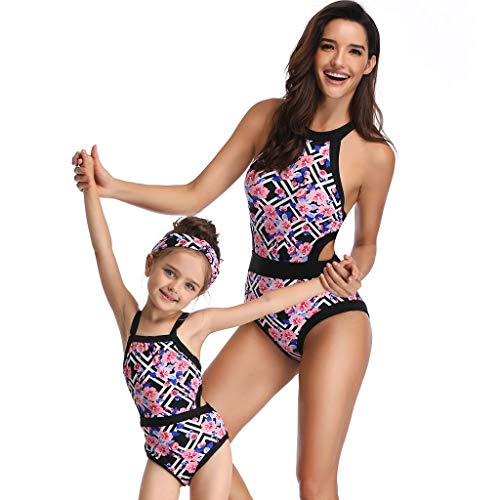 QinMM 2019 bañador Floral para Mujer y 3-6 años niña, Push up Biquinis Familia Madre e Hija Bikinis Traje de baño natación Verano