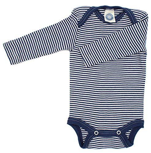 Cosilana Baby-Body, Wollbody, Größe 50/56, Farbe Marine geringelt, 70% Wolle und 30% Seide kbT