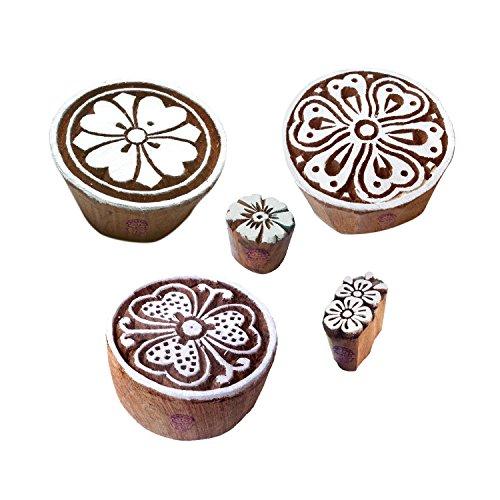 Royal Kraft Städtisch Muster Blumen und Runden Hölzern Blöcke Stempel (Set von 5)