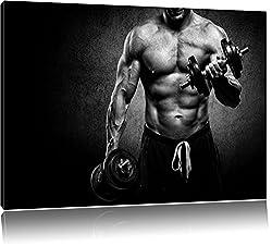 Dark Trainierender Bodybuilder schwarz/weiß Format: 80x60 cm auf Leinwand, XXL riesige Bilder fertig gerahmt mit Keilrahmen, Kunstdruck auf Wandbild mit Rahmen, günstiger als Gemälde oder Ölbild, kein Poster oder Plakat