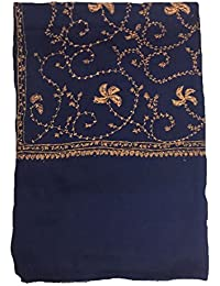 Beautiful Embroidered Wool Shawl For Women In Blue
