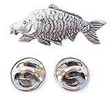 Carpa specchio fatto a mano in solido peltro nel Regno Unito Lapel Pin Button Badge + 59mm Spilla + Sacchetto Regalo