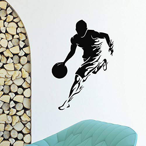 Wall Decal Gimnasio Sport Basketball Player wall sticker mural de pared removible de gimnasio Estilo Arte Diseño de decoracion de la habitacion 42x61cm baloncesto niños