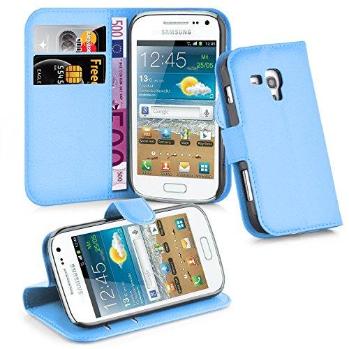 Cadorabo - Book Style Hülle für Samsung Galaxy TREND PLUS (GT-S7580) - Case Cover Schutzhülle Etui Tasche mit Standfunktion und Kartenfach in PASTEL-BLAU