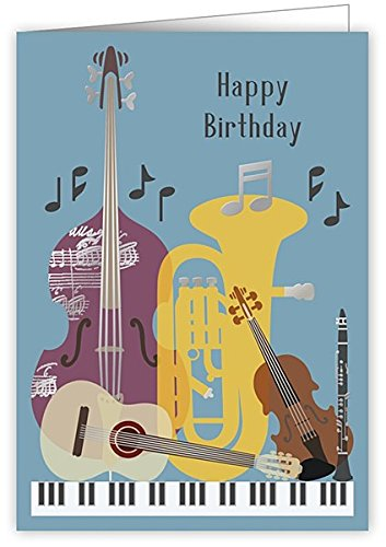 Blue Instruments Happy Birthday Greetings Card