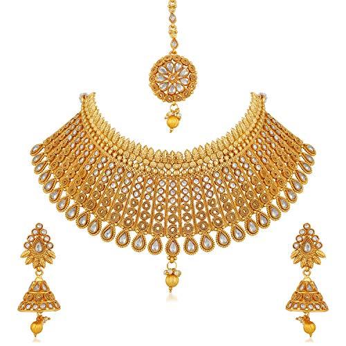 Apara Gold Plated Kundan Jalebi Design Traditional Semi Bridal Choker Necklace Earring Maang Tikka Jewellery Set for Women