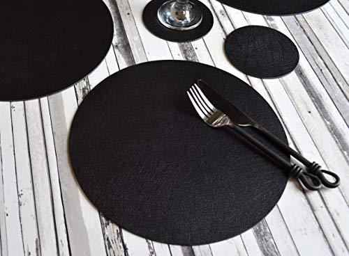 Giftag Set 6Stück Artisan Schwarz Rund Bonded Leder Platzsets 6Untersetzer, Made in UK, 12Stück