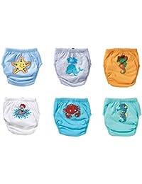 OZYOL Unterwassertiere 6er Pack Wasserdicht Baby Lernwindel Trainerhosen Unterwäsche Windeln Windelhose zum Toilettentraining Töpfchentraining