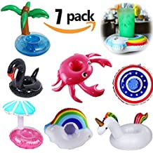 Yojoloin 7PCS Inflable Pool Float Drink Cup Holder, Posavasos inflables para la Piscina y Juguetes