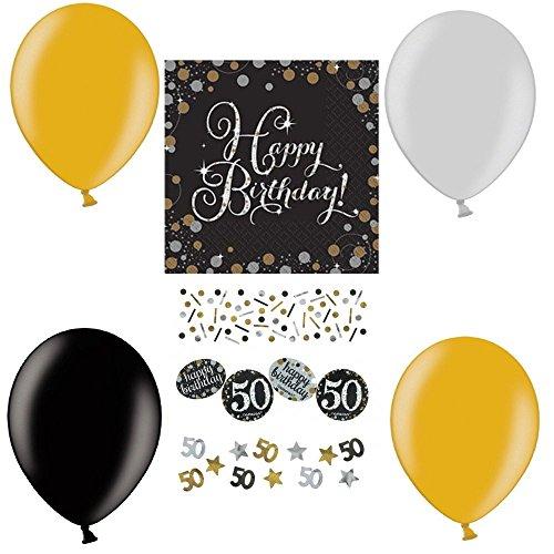 tagsdeko Zum 50. Geburtstag   21 Teile All-In-One Set Luftballons Servietten Konfetti Gold Schwarz Silber Party Deko Happy Birthday ()