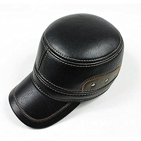 WE&ZHE Men's New Design SOFT Genuine Leather Hat Flat Cap