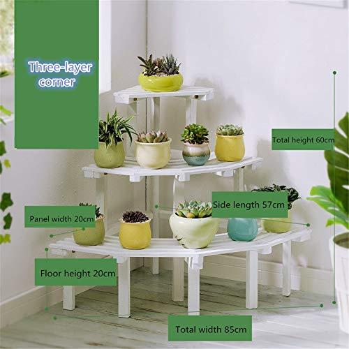 ZY&DD Massivholz Eckblumenstand,Multi-Layer Indoor Raum Flower Ständer,Boden Hölzerne Pflanztopfstange,Regal Rack Für Garten-d 85x60cm(33x24inch)