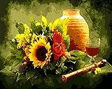 OBELLA Malen nach Zahlen Kits || Obst Wein Blumen und Klarinette 50 x 40 cm || Malen nach Zahlen, DIGITAL Ölgemälde (Ohne Frame)