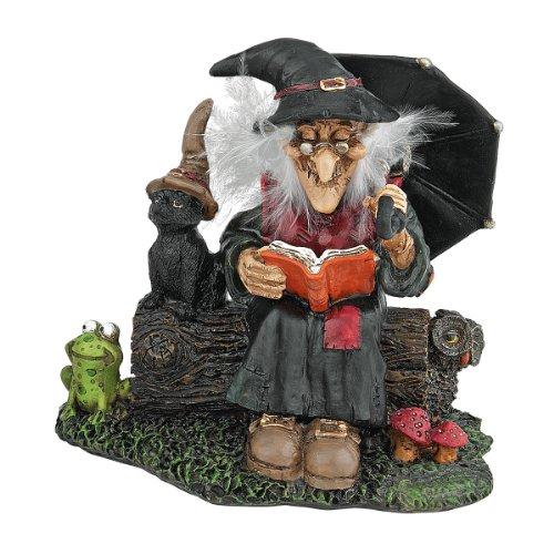 Design Toscano Betörende Hexen mit Zauberbuch - Figur, Maße: 7,5 x 4,5 x 11,5 cm