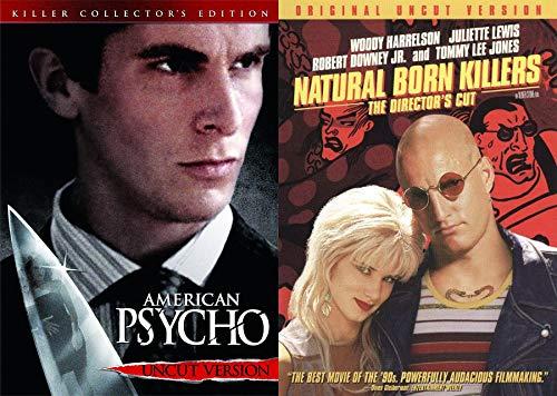 All American Serial Killers: American Psycho (Killer Collector's Edition) UNCUT & Natural Born Killers (Original Uncut Director's Version W/ Extras) 2 DVD Bundle