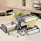 COSTWAY 5 in 1 Pasta Maker Machine, Stainless Steel, 9 Adjustable Thickness, 2