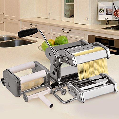 COSTWAY Nudelmaschine manuell Pastamaschine Pastamaker Spaghetti Nudeln Pasta Ravioli Maker Edelstahl mit 3 Aufsätzen inkl. Schneidewerkzeug und Tischklemme
