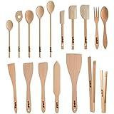 Uulki® Ensemble d'Ustensiles de Cuisine Écologiques en Hêtre d'Ardenne 17 pièces (cuillères, retourneurs , spatules, pinces cuisine et plus en bois)
