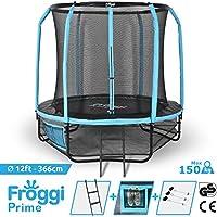 FROGGI Trampoline d'extérieur Prime - 366cm Norme CE & GS - Structure Garantie 5 Ans Charge Max : 150 kg