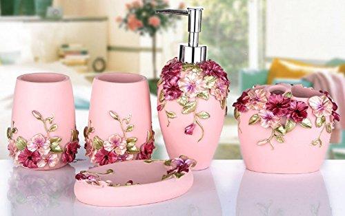 Yiyida 3D Blumen 5-teilig Badezimmer Set: Seifenspender Zahnbürstenhalter Zahnputzbecher Seifenschale für Hotel & Hause (Pink) (Badezimmer 6-teilig)