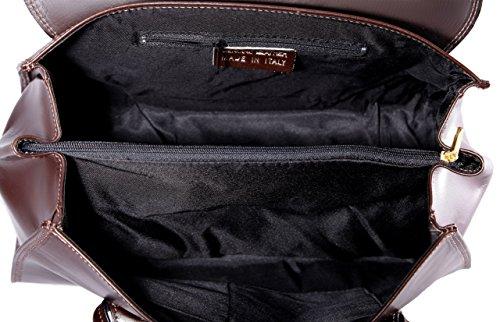 CTM Borsa da Donna a Mano Classica, 37x24x17cm, Vera pelle 100% made in Italy Marrone scuro