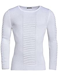 BLZ jeans - Pull blanc moulant homme à coutures