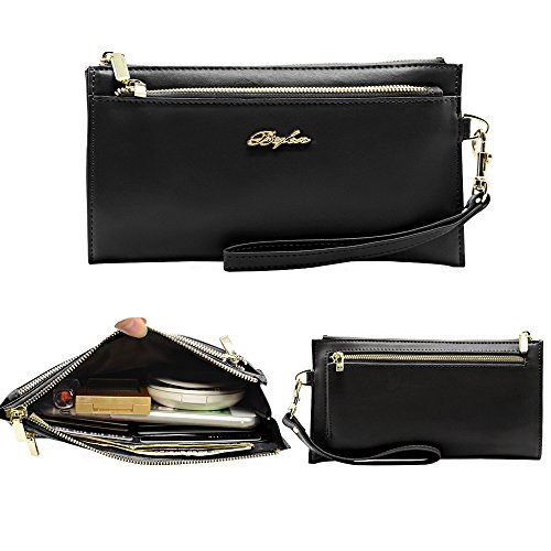 Befen Women Soft Leather Wristlet Cellphone Clutch Wallet with Removable Wrist Strap Smartphone Wristlet Purse for iPhone 7/6s/6 Plus, iPhone 7/6s/6/5s-Black