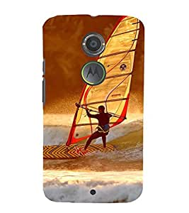 SURFER FACING A WILD OCEAN TIDE 3D Hard Polycarbonate Designer Back Case Cover for Motorola Moto X2 :: Motorola Moto X (2nd Gen)
