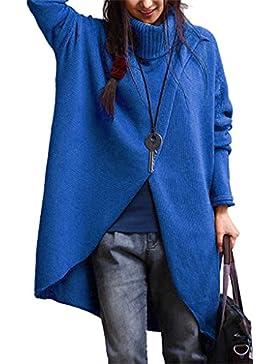 Fami-Maglione a maniche lunghe a manica lunga asimmetrica da donna in turtleneck di moda femminile