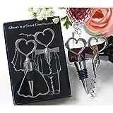 Bouchon de Vin et Tire-bouchon en forme de Coeur argent pour Cadeau de Mariage Cadeaux d'anniversaire Acier inoxydable