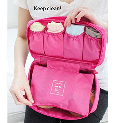 Preisvergleich Produktbild ANKKO tragbarer BH Unterwäsche Storage Bag Dessous Veranstalter Reisetasche (Leuchtend Rosa)