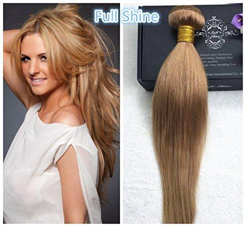 Full Shine 1 Bundle Seide Gerade Echthaar Tressen Virgin Human Hair Weaving Extensions 20zoll/50cm 100g/Bündel 27# Blond