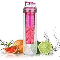 Borraccia per Frutta,Rixow 800ml Bottiglia per Infusioni e Bevande alla Frutta,Rosa - Lampone Menta Tè