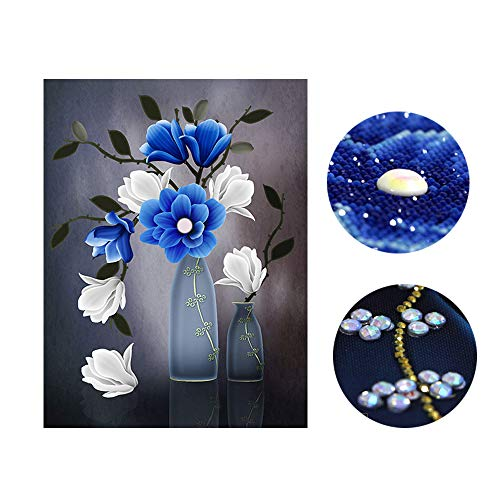 SWECOMZE DIY Diamond Painting Set Vase Blume Diamant Malerei Set Art Deco Wanddekoration (56 x 75 cm) (Blumen-vase Art-deco)