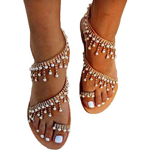 Donna sandali da estate moda peep toe casual shoes spiaggia piatte bassi scarpe boemia bordo perla scarpe sandali con zeppa romani marrone