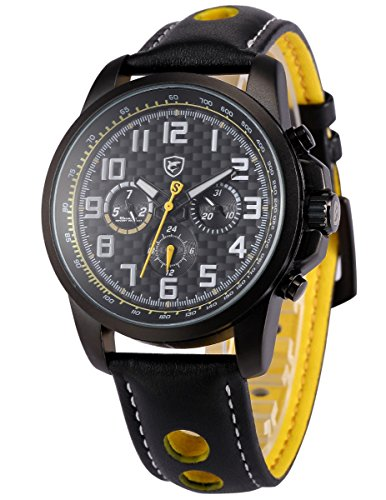 Shark-Saw Shark series Herren Armbanduhr Quarzuhr Schwarze Leder Armband mit Datumanzeige SH184