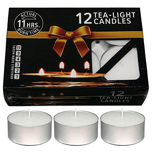 Nanki Trades Wax Tea Light Candle (White, Set of 12, 11 Hours...